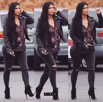 jeans ripped black grey kim kardashian