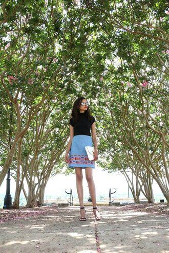 skirt embroidered denim skirt blue skirt denim skirt mini skirt embroidered embroidered skirt top black top sandals sandal heels high heel sandals black sandals mirrored sunglasses sunglasses summer outfits