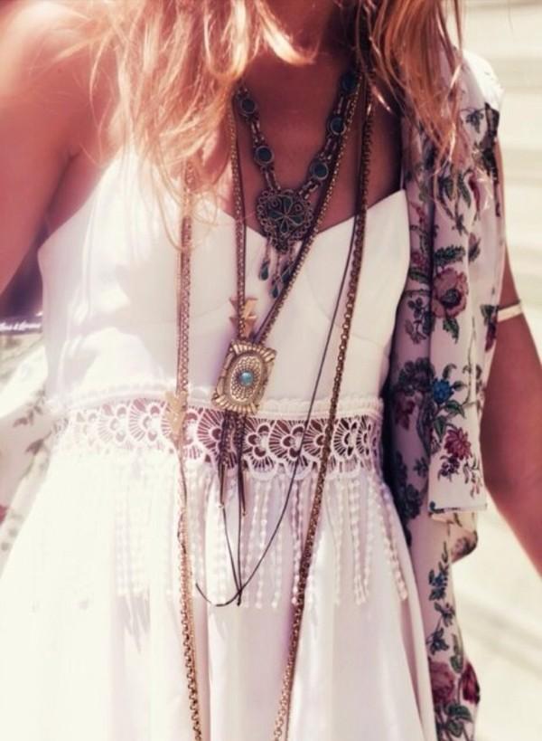 бохо, ожерелье, богемно, хиппи, приятное, платье, ювелирные изделия, мода