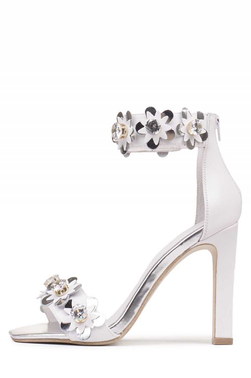 Jeffrey Campbell Shoes OBUS-FLR in White Silver Combo