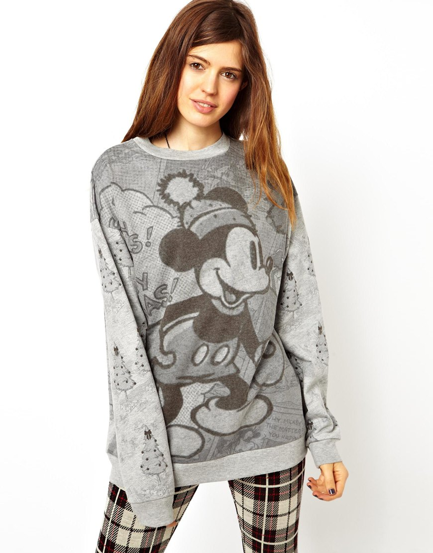 ASOS Sweatshirt in Monochrome Mickey Mouse Christmas Print at asos.com