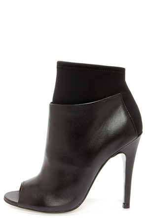 Chinese Laundry Laney Black Nappa Leather Peep Toe Booties