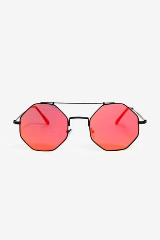 sunglasses red hexagon shap