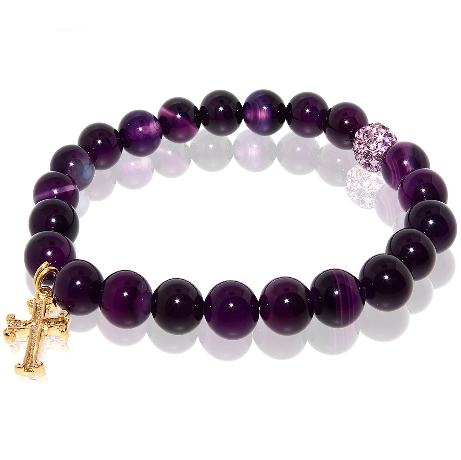 Amazon.com: Purple Agate Stretch Bracelet with Cross Charm & Pink Rhinestone (9mm): Jewelry