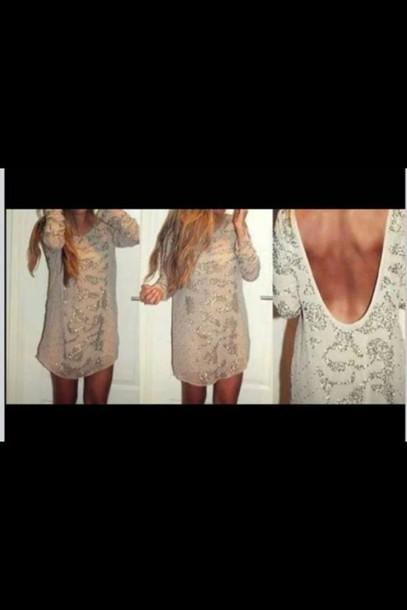 dress clothes clothes backless backless dress outfit diamonds pearl beige beautiful beige dress cute dress tumblr clothes open back nude loose dress