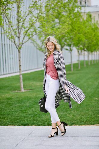 ivory lane blogger top coat jeans bag shoes make-up