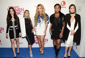 dress white dress midi dress plunge v neck coat bodycon dress fifth harmony lauren jauregui ally brooke normani hamilton dinah jane hansen camila cabello jacket blazer top