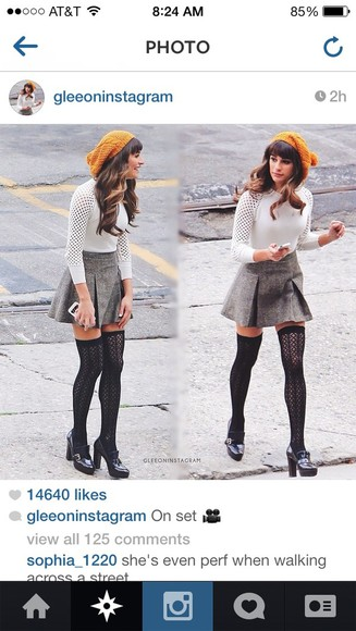 lea michele skirt grey skirt, cream sweater