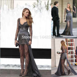 Online shop zuhair murad evening dresses gossip girl blake lively dresses long sleeve grey beaded lace prom dress vestido de festa longo