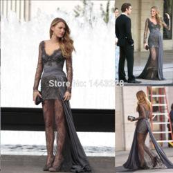 Online shop zuhair murad evening dresses gossip girl blake lively dresses long sleeve grey beaded lace prom dress vestido de festa longo