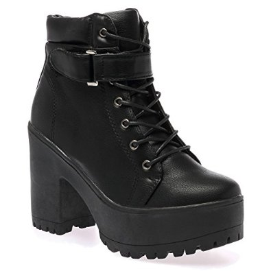 Amazon.com: my1stwish block heel cleated sole lace up boots women's: shoes