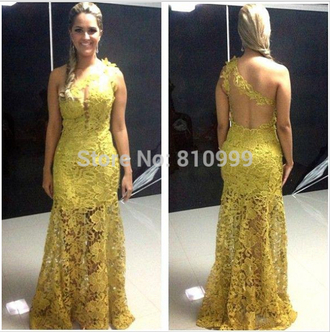 one shoulder evening dress prom dress lace dress yellow dress mermaid prom dresses one shoulder evening dresses one shoulder prom dress