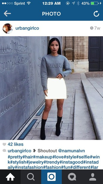 sweater alexander wang crop tops wang alexander wang grey sweater