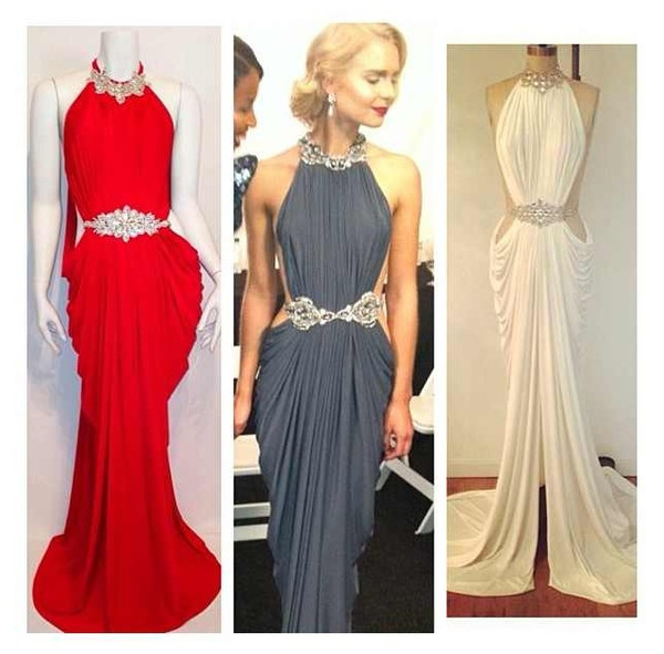 dress grecian goddess Michael Costello maxi dress white