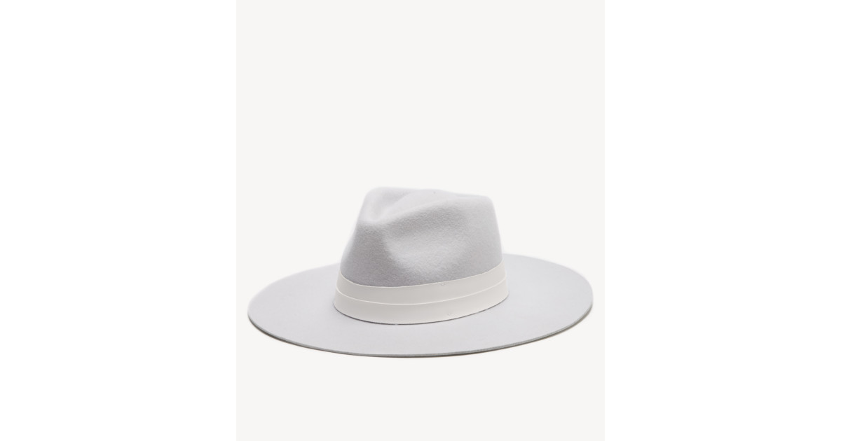 Wide Brim Hat with Faux Leather Band