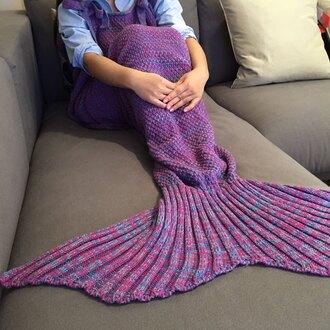 home accessory purple fashion trendy cool warm cozy mermaid blanket knitwear gamiss