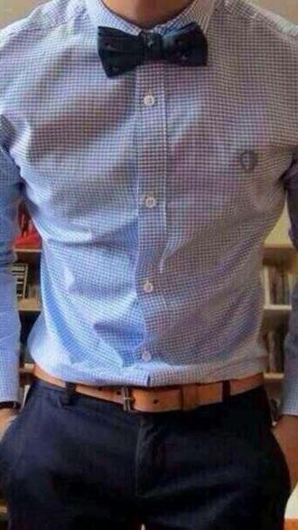 shirt blue man shirt menswear classy bow tie