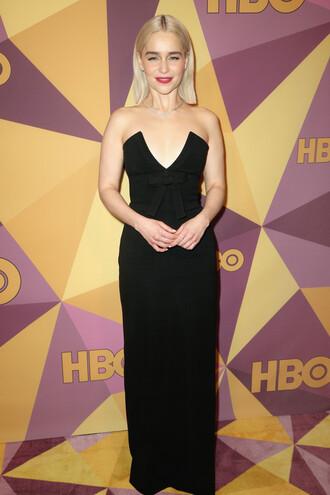 dress black dress maxi dress prom dress gown bustier dress golden globes 2018 emilia clarke