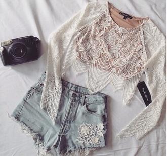 blouse boho denim shorts lace top coat