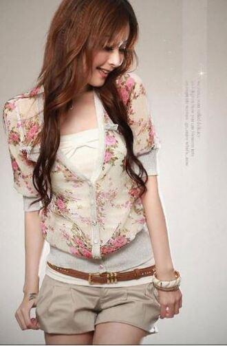 jacket floral rose cardigan sweater short sleeve