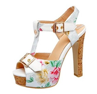 shoes summer heels floral beach ankle strap heels