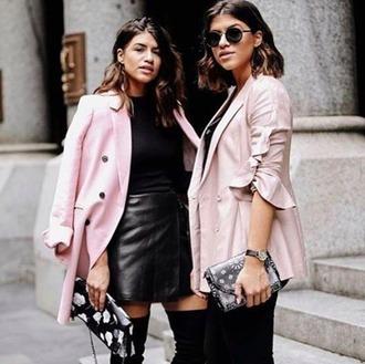 jacket bnkr blazer millennial pink light pink pink blazer streetstyle sunglasses cmeocollective