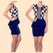 dress,bodysuit,checker,checkerboard,peplum skirt,peplum,fashion,makeup table,vanity row,dress to kill,all in check