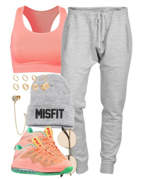 shoes, nike air max lebron, sports bra, beenie, pink and