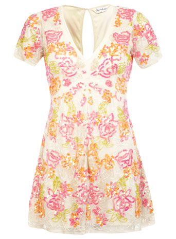 Floral Embellished Playsuit - Playsuits & Jumpsuits - Going Out - Miss Selfridge