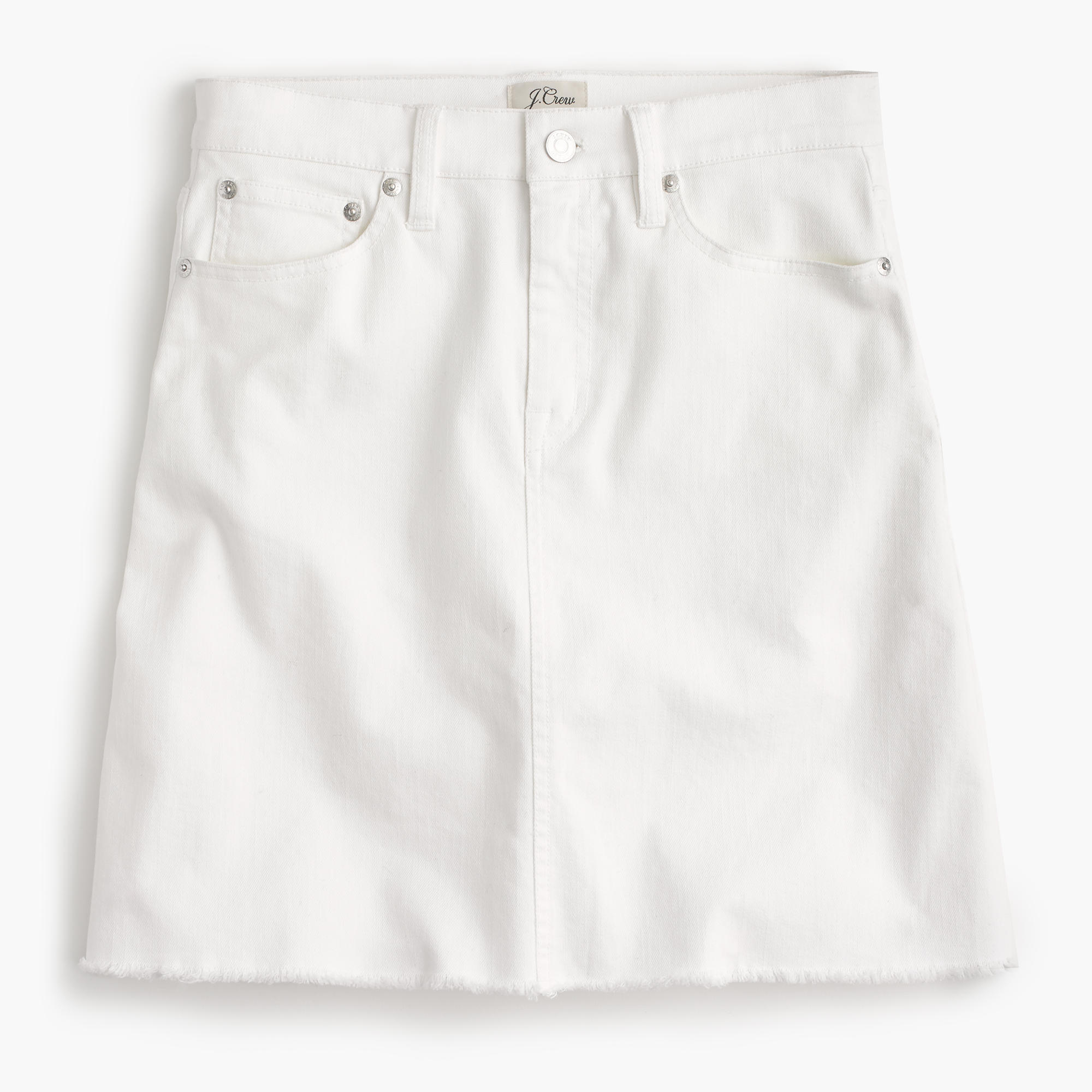 Petite white denim skirt with raw hem