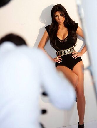 belt kim kardashian sexy black keeping up with the kardashians leotard gorgeous swimwear