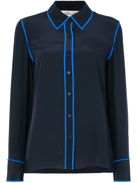 Dvf Diane Von Furstenberg blouse women blue silk top