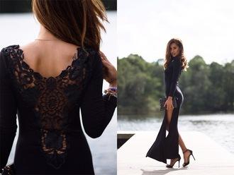 dress maxi lace slit black long sleeves black dress long dress open back leg slit