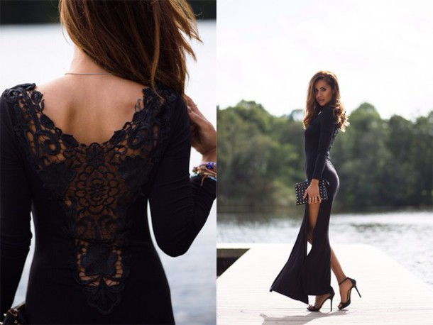 Dress Maxi Lace Slit Black Long Sleeves Long Sleeves Black