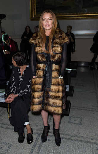 coat fur coat lindsay lohan boots ankle boots fashion week 2015 shoes