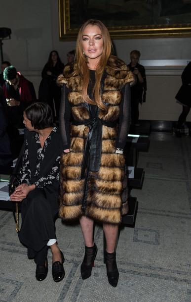 coat fur coat lindsay lohan boots ankle boots fashion week 2015 shoes
