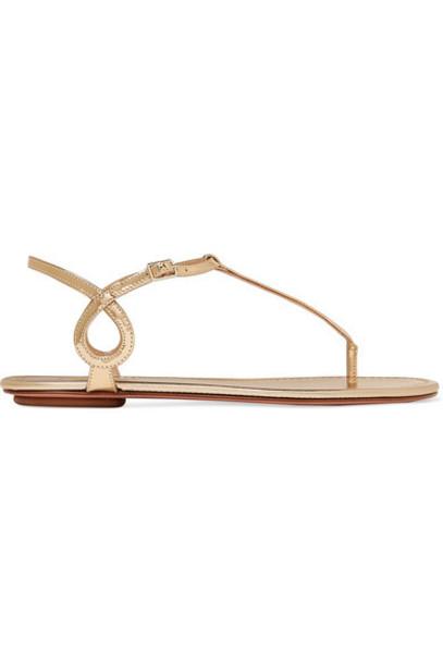 Aquazzura - Almost Bare Metallic Leather Sandals - Gold