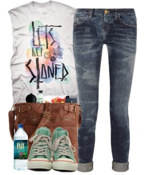 mint shirt t-shirt converse jeans bag