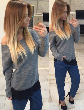 off the shoulder sweater grey sweater knitted sweater