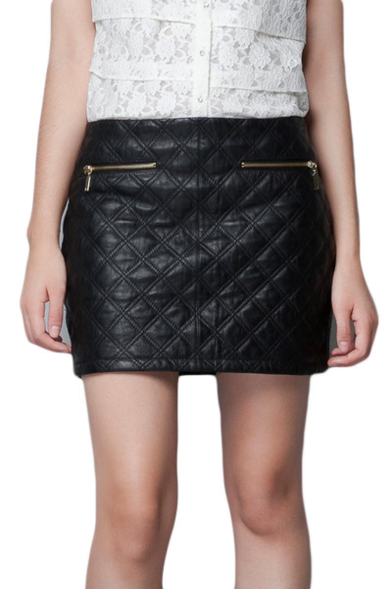 Autumn & Winter New Section Two Sides Zipper Plaids PU Skirt,Cheap in Wendybox.com