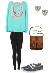 sweater,long sleeves,turquoise,loose,diamond earrings,scarf,shirt