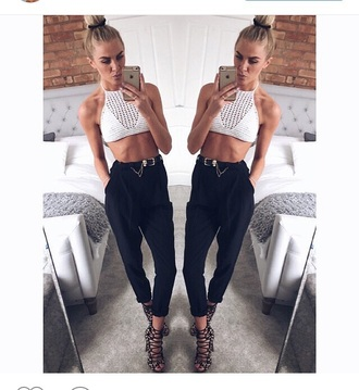 belt black and gold chain pants black high waisted
