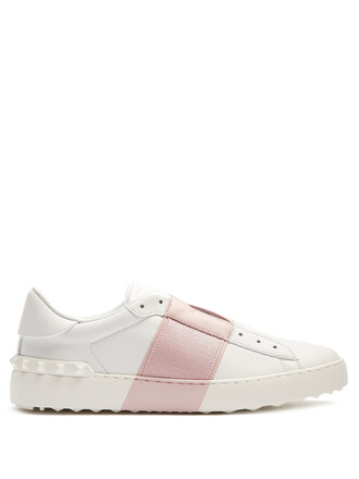 top leather white pink