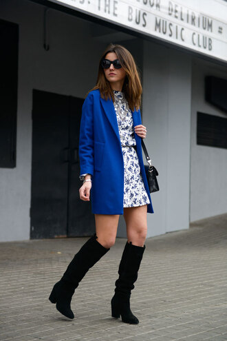 lovely pepa blogger sunglasses blue coat floral dress dress coat jacket shoes jewels