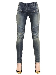 LUISAVIAROMA.COM - BALMAIN - WASHED STRETCH COTTON DENIM BIKER JEANS