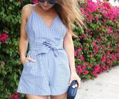 romper,striped romper,tumblr,stripes,blue romper,bag,clutch,knuckle clutch,summer outfits