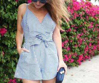 romper striped romper tumblr stripes blue romper bag clutch knuckle clutch summer outfits