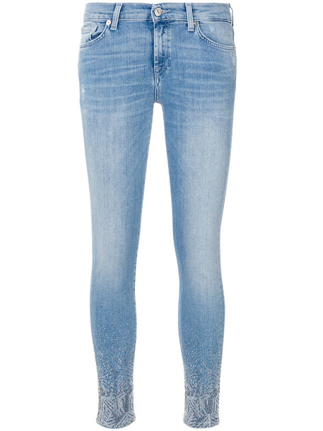 7 For All Mankind jeans skinny jeans women spandex embellished cotton blue