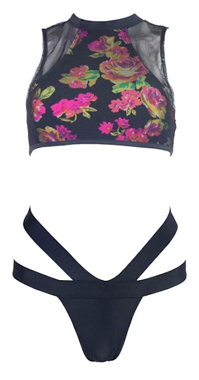 Chic maia cut out floral semi sheer high waist mesh tankini