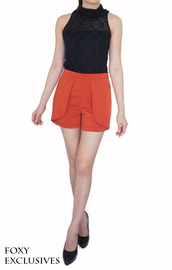 shorts,laidback,chic,luxe material,high waisted,sophisticated,orange,tangerine,short,modern,casual